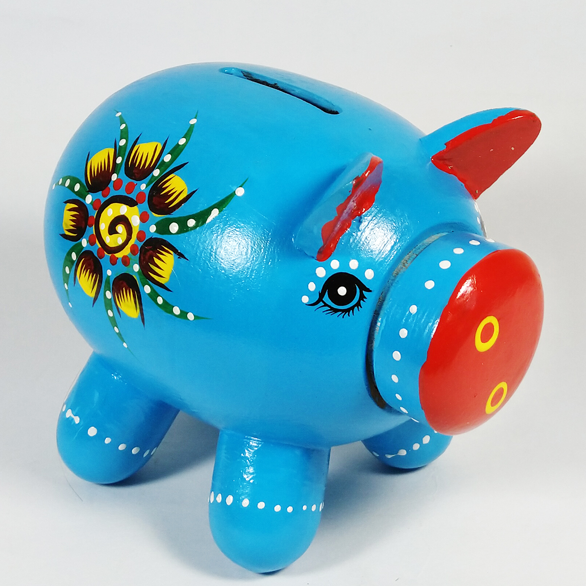 Buy Beautifully Designed And Handpainted Wooden Blue Piggy Bank For